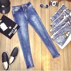 Quần jean xanh trơn đơn giản