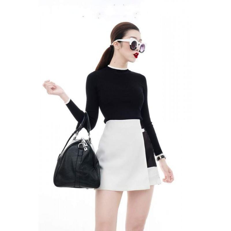 Bộ áo đen tay dài váy trắng 1290