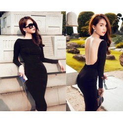 Black backless dress and long sleeves