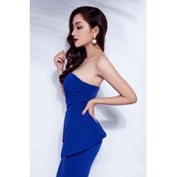 Blue dress with neckline 335