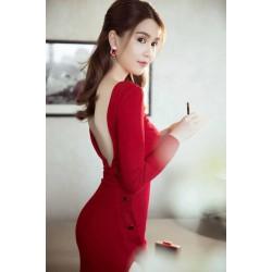Split red dress 351