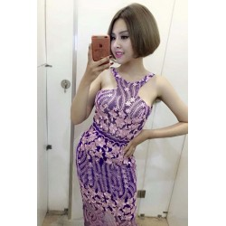 Purple lace dress 621