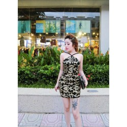 Black and gold patterned dress 98